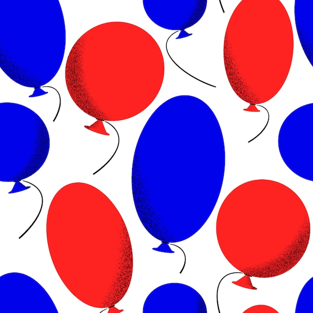 Modèle Sans Couture De La Journée Indépendante De L'amérique. Illustrations Festives De Vecteur. 4 Juillet Avec Des Ballons Vecteur gratuit