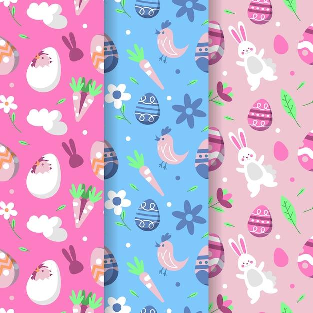 Modèle Sans Couture De Joyeuses Pâques Avec Oiseaux Et Lapins Vecteur gratuit