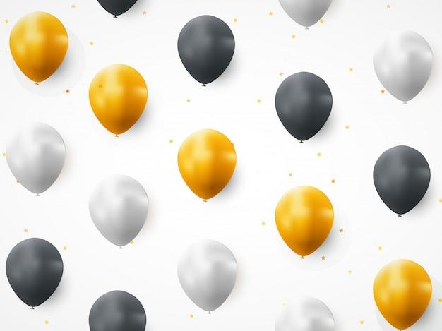 Modèle sans couture de joyeux anniversaire ballon Vecteur Premium