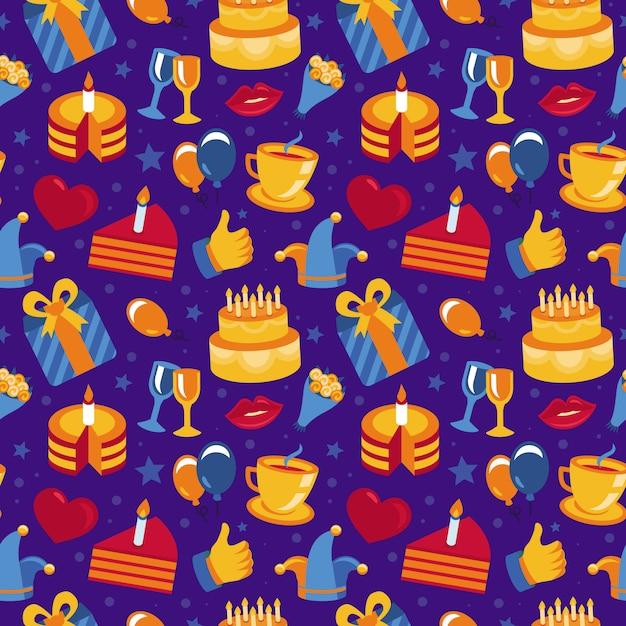 Modèle sans couture joyeux anniversaire Vecteur Premium