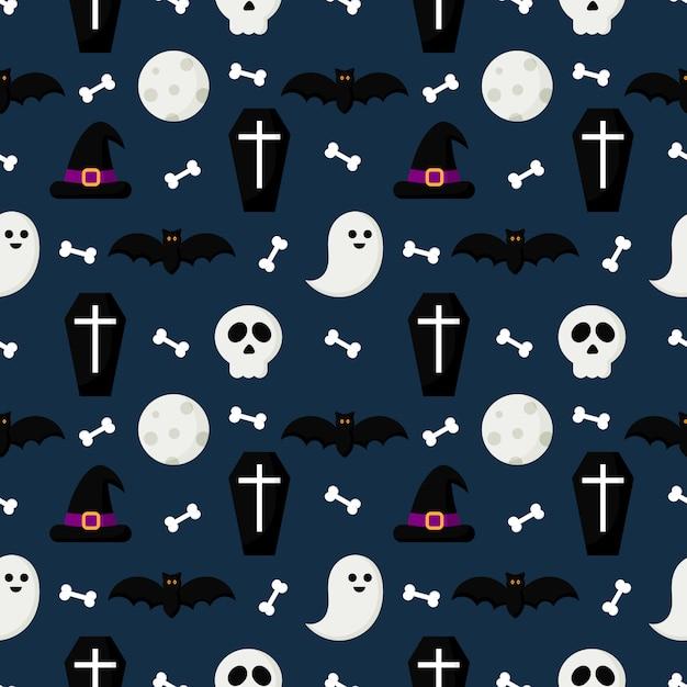 Modèle sans couture joyeux halloween Vecteur Premium