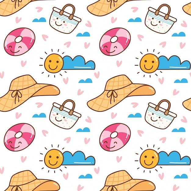 Modèle sans couture kawaii sur le thème de l'été Vecteur Premium