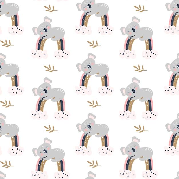 Modèle Sans Couture Avec Koala Mignon Sur Fond Blanc. Vecteur Premium
