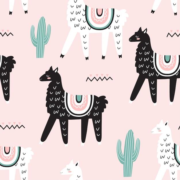 Modèle sans couture avec des lamas Vecteur Premium
