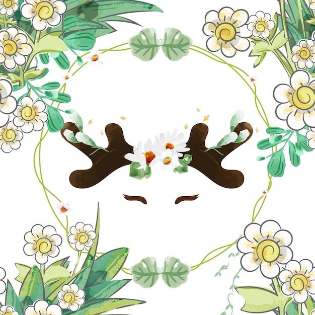 Modèle sans couture lapin vintage en floral. Vecteur Premium