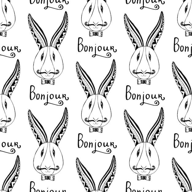 Modèle Sans Couture De Lapins Hipster. Vecteur Français Salutation Bunjour Main Dessin Hipster Vecteur Premium