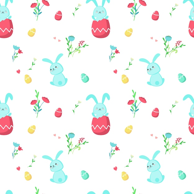 Modèle sans couture avec les lapins de pâques mignons Vecteur Premium