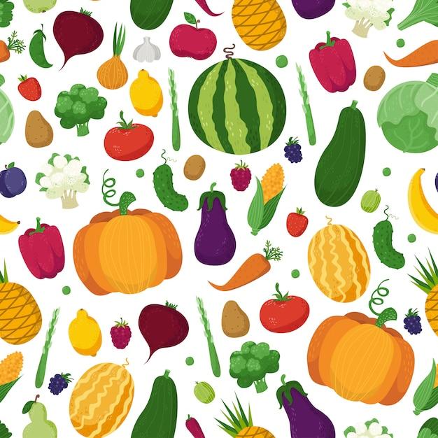 Modèle sans couture avec des légumes, des fruits et des baies Vecteur Premium
