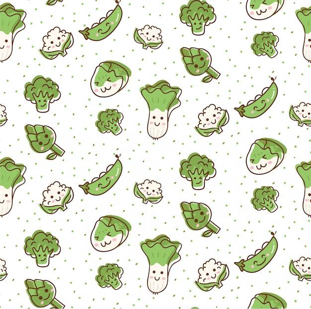 Modèle sans couture de légumes mignons dans un style kawaii doodle Vecteur Premium