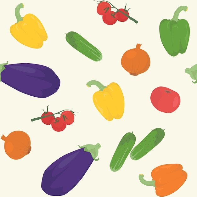 Modèle sans couture avec des légumes Vecteur Premium