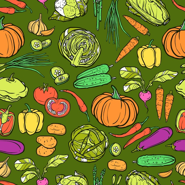 Modèle sans couture de légumes Vecteur gratuit