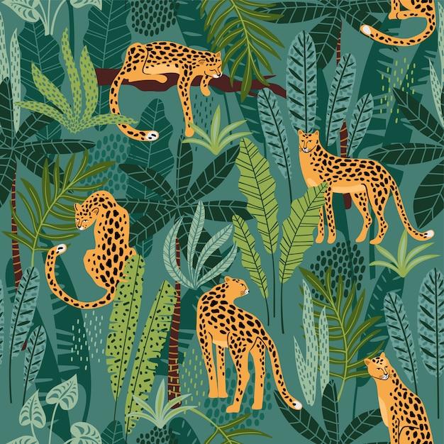 Modèle sans couture avec des léopards et des feuilles tropicales. Vecteur Premium