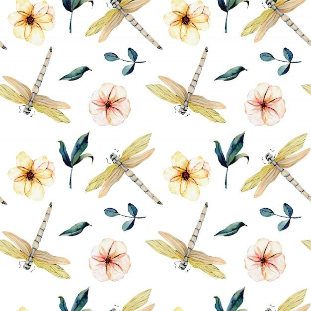Modèle sans couture avec libellules tendres aquarelles et fleurs roses Vecteur Premium