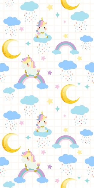Modèle sans couture de licorne arc-en-ciel mignon assis sur un arc en ciel sur fond blanc Vecteur Premium