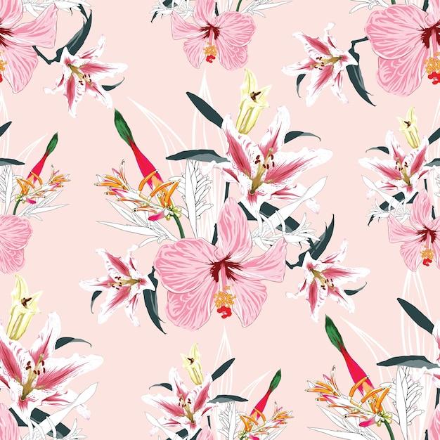 Modèle Sans Couture Lilly, Oiseau De Paradis Et Fond De Fleurs D'hibiscus. Aquarelle Dessinée à La Main. Vecteur Premium