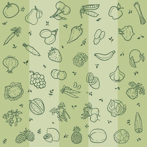 Modèle sans couture avec lineart de fruits et légumes Vecteur Premium