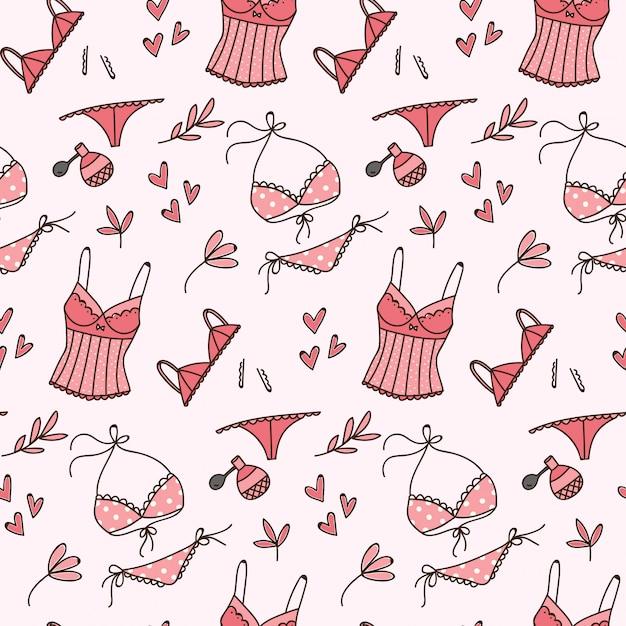 Modèle sans couture lingerie doodle Vecteur Premium