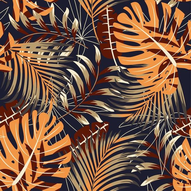 Modèle sans couture lumineux original avec des plantes et des feuilles tropicales colorées Vecteur Premium