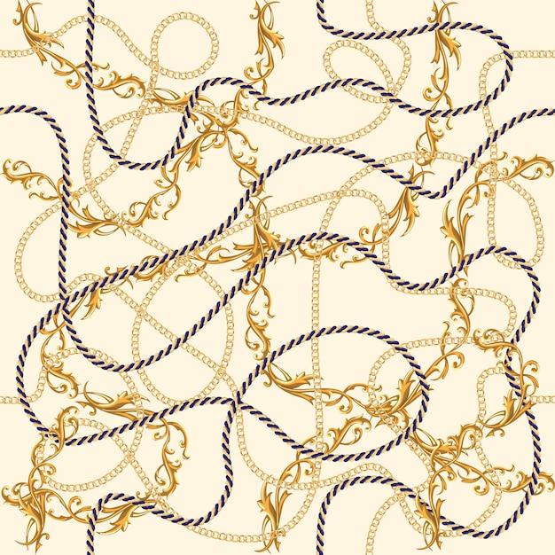 Modèle sans couture de luxe de chaînes d'or Vecteur Premium