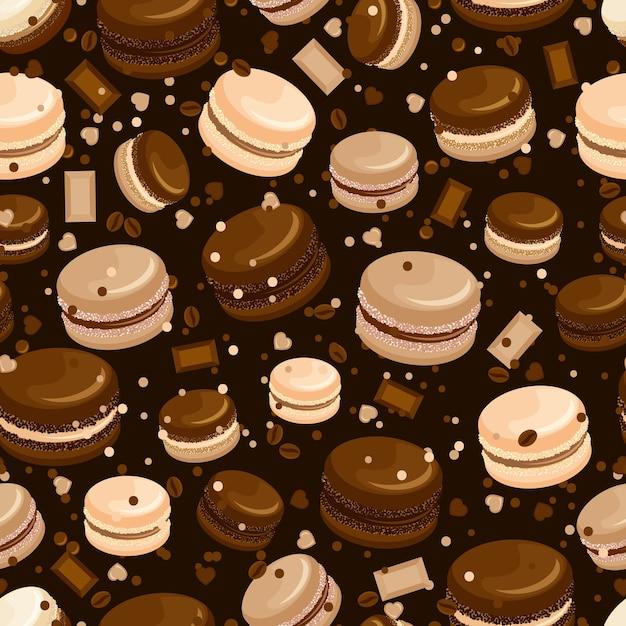 Modèle Sans Couture De Macaron Au Chocolat Et Café Vecteur gratuit