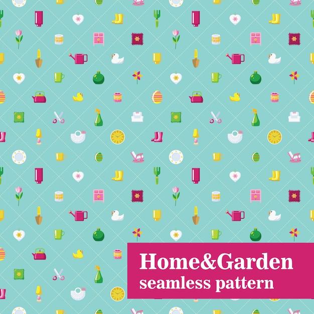 Modèle sans couture maison et jardin. carreaux diagonaux avec des objets ménagers. Vecteur Premium