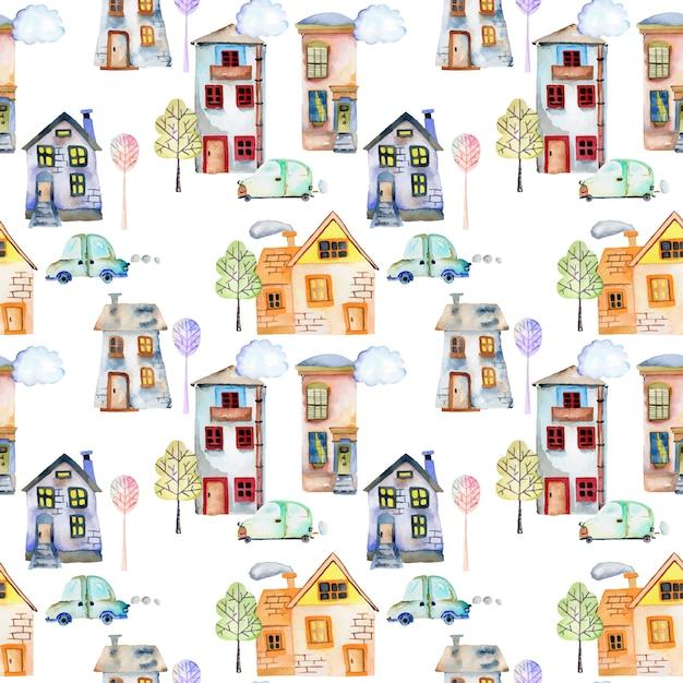 Modèle sans couture avec des maisons aquarelles mignonnes Vecteur Premium