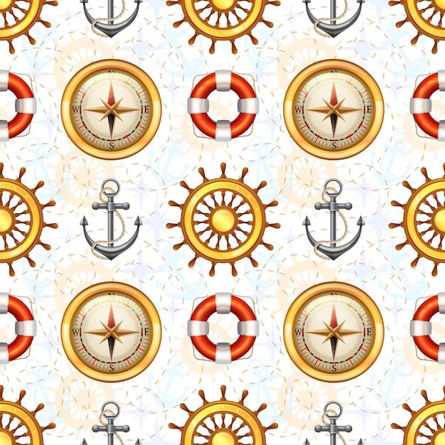 Modèle Sans Couture Marine Vecteur gratuit
