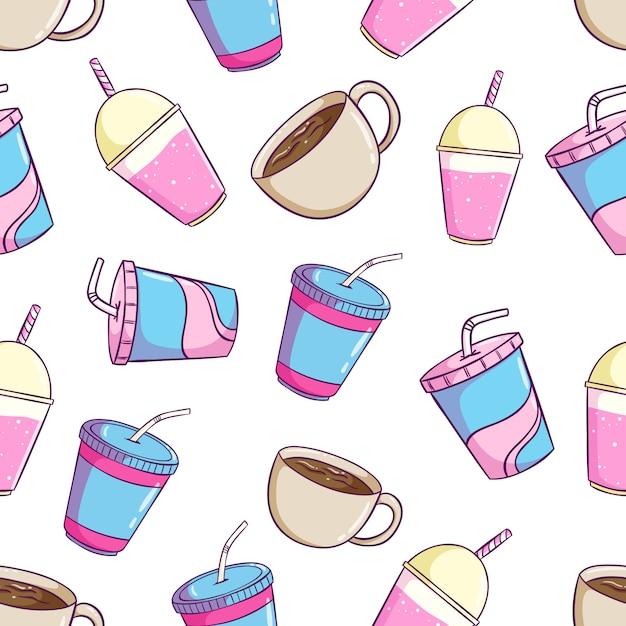 Modèle sans couture mignon boisson gazeuse avec soda, milkshake tasse et café Vecteur Premium