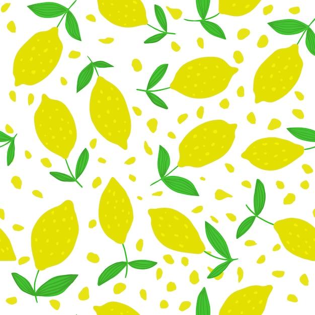Modèle sans couture mignon de citron avec des feuilles Vecteur Premium