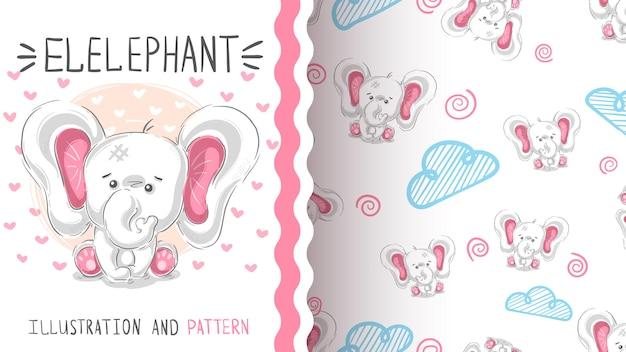 Modèle sans couture mignon éléphant en peluche Vecteur Premium