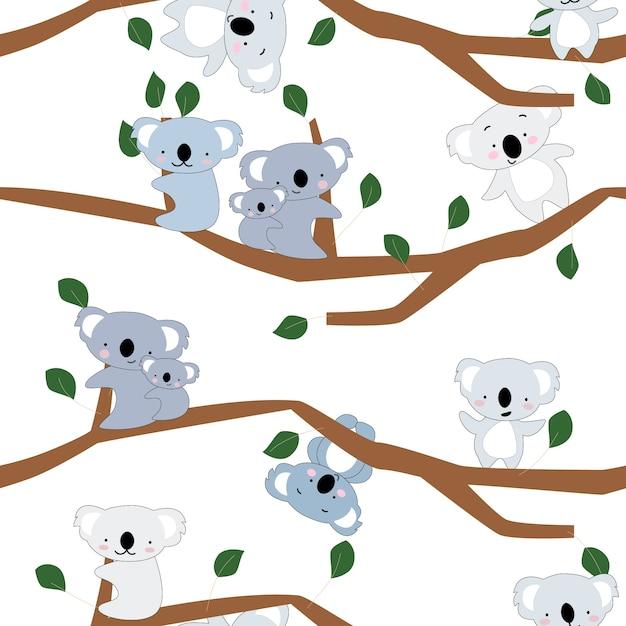 Modèle sans couture mignon mignon koala ours Vecteur Premium