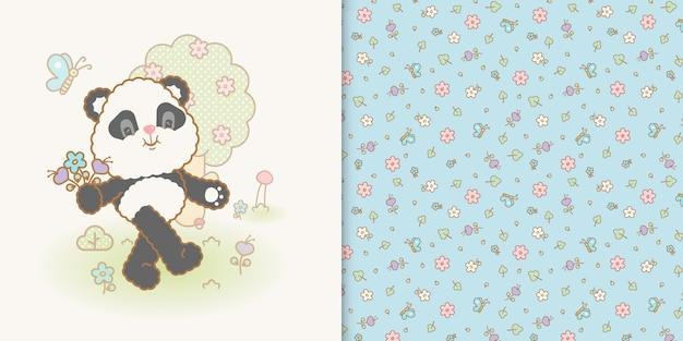 Modèle sans couture mignon panda kawaii et fleur Vecteur Premium