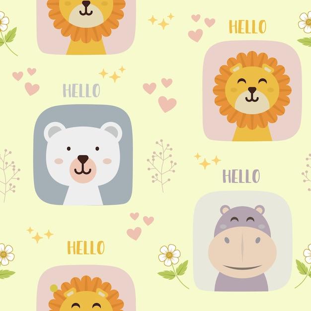 Modèle sans couture avec mignon personnage de lion, ours et hippo Vecteur Premium