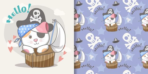 Modèle sans couture mignon petit chat de pirate et carte d'illustration Vecteur Premium