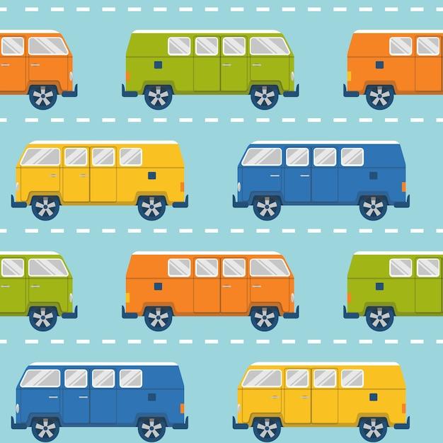 Modèle sans couture avec minivans rétro Vecteur Premium