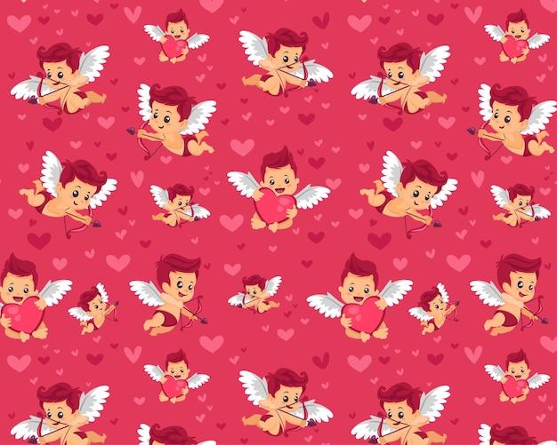 Modèle Sans Couture Modifiable Textile Tissu Motif Complet Personnalisable Enfants Emballage Cadeau Bébé Modèle Amour Couple Saint Valentin Cadeau Emballage Papier Motif Cupidon Vecteur Premium