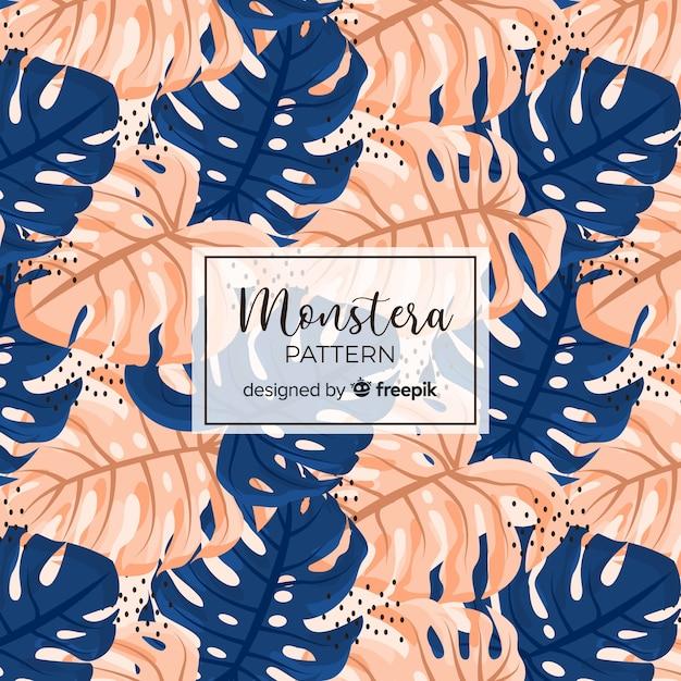 Modèle Sans Couture Monstera Vecteur gratuit