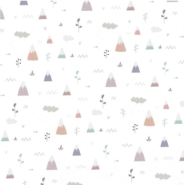 Modèle sans couture avec montagne et arbre Vecteur Premium