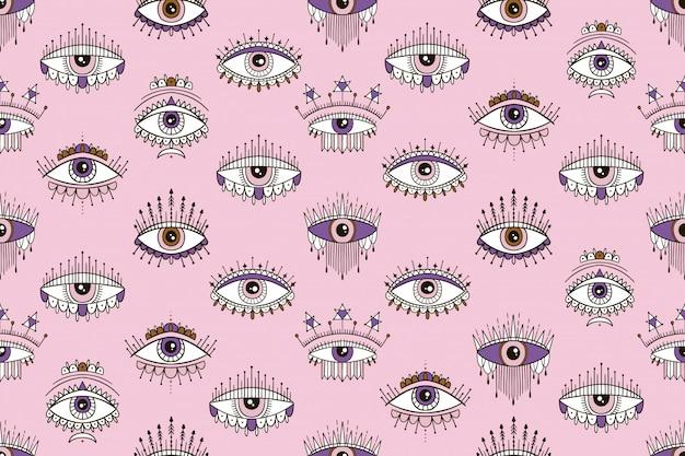 Modèle sans couture avec motif magique des yeux. signe ésotérique, œil d'inspiration. Vecteur Premium