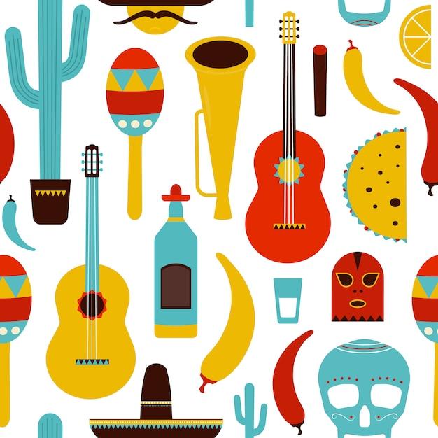 Modèle Sans Couture De Motley Mexique Avec Des Articles Mexicains Traditionnels Vecteur Premium