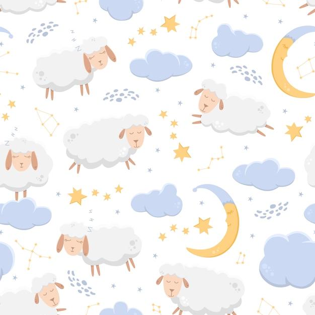 Modèle Sans Couture Avec Des Moutons Endormis Volant à Travers Le Ciel étoilé Parmi Les Nuages Et Les Constellations. Vecteur Premium