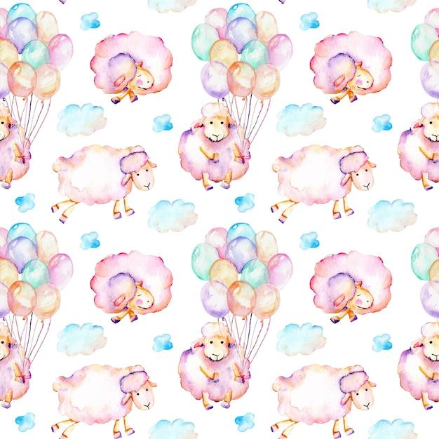 Modèle sans couture avec moutons roses mignons aquarelles Vecteur Premium