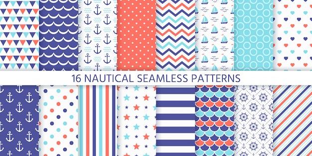 Modèle Sans Couture Nautique Et Marine. Illustration. Arrière-plans De La Mer. Vecteur Premium