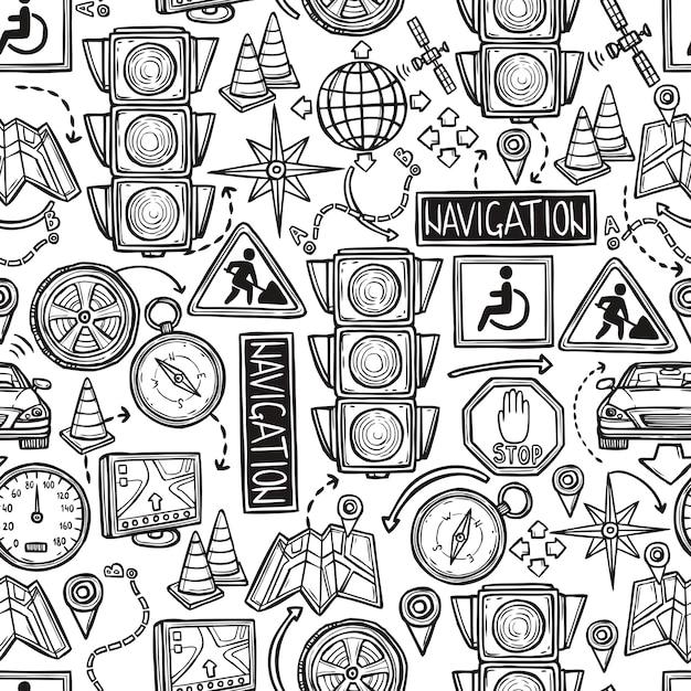 Modèle Sans Couture De Navigation Vecteur gratuit