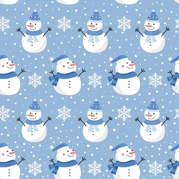 Modèle sans couture de noël avec bonhomme de neige Vecteur Premium