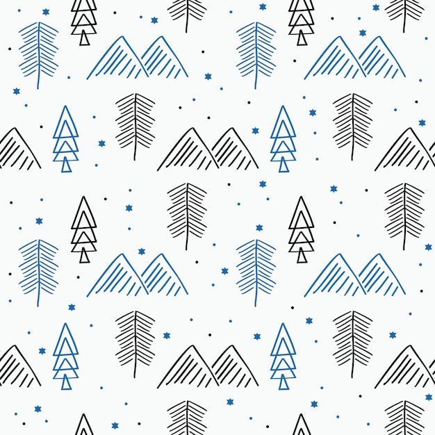 Modèle sans couture de noël avec dessin enfantin d'hiver Vecteur Premium