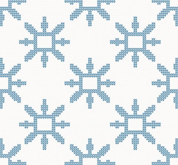 Modèle sans couture de noël avec des flocons de neige bleus Vecteur Premium