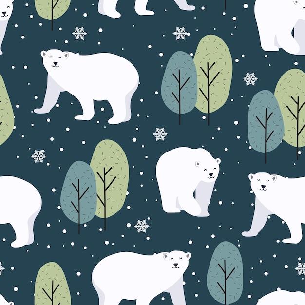 Modèle Sans Couture De Noël Avec Fond D'ours Polaire Vecteur Premium