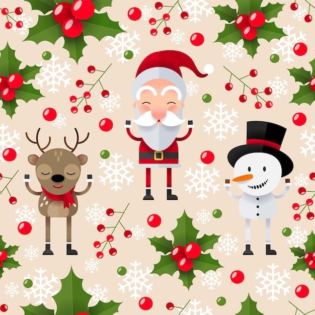 Modèle Sans Couture De Noël Avec Le Père Noël, Le Cerf Et Le Bonhomme De Neige Vecteur gratuit