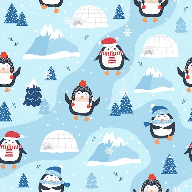Modèle sans couture de noël avec pingouin Vecteur Premium